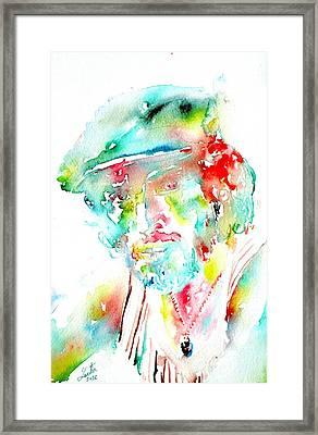 Bruce Springsteen Watercolor Portrait Framed Print