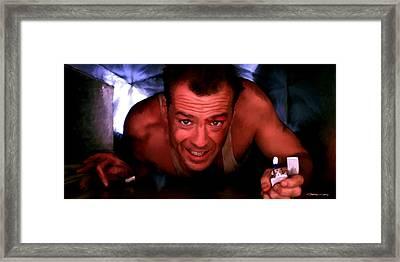 Bruce Willis In The Film Die Hard - John Mctiernan 1988 Framed Print