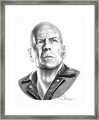 Bruce Willis Framed Print by Murphy Elliott