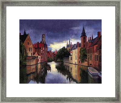 Bruges Belgium Canal Framed Print by Janet King