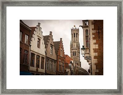 Bruges Belgium Bell Tower  Framed Print by James Udall