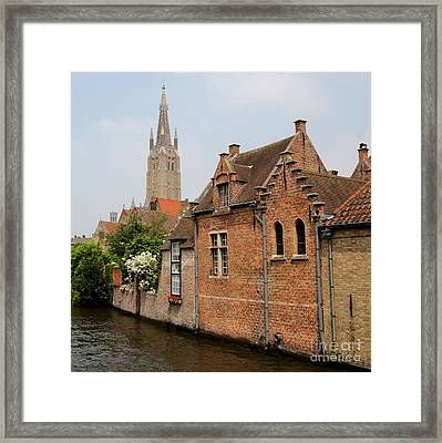 Bruges Houses With Bell Tower Framed Print by Carol Groenen