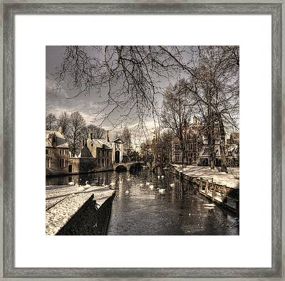 Bruges In Christmas Dress Framed Print by Yvette Depaepe