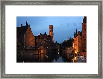 Bruges Rozenhoedkaai Night Scene Framed Print by Kiril Stanchev
