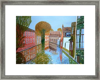 Framed Print featuring the painting Brugge Canal by Magdalena Frohnsdorff