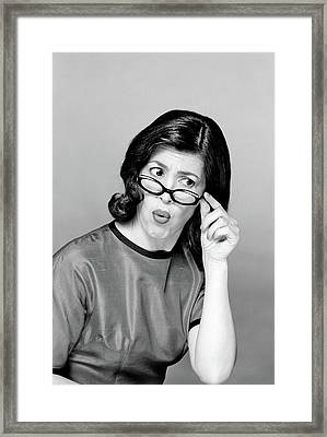 Brunette Woman Portrait Funny Face Framed Print