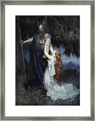 Brunhilde Knelt At His Feet, From The Framed Print by Ferdinand Leeke