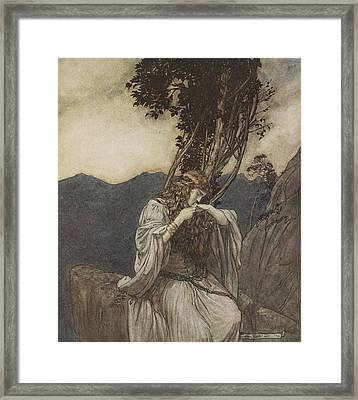 Brunnhilde Kisses The Ring That Siegfried Has Left With Her Framed Print by Arthur Rackham