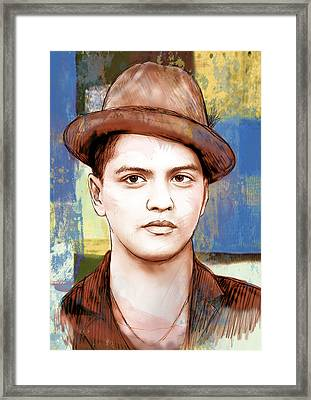 Bruno Mars - Stylised Drawing Art Poster Framed Print by Kim Wang