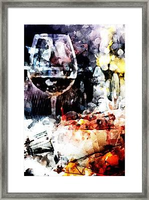 Bruschetta And Red Wine Framed Print