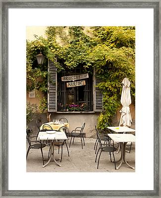 Bruschetta Patio Framed Print by Rae Tucker