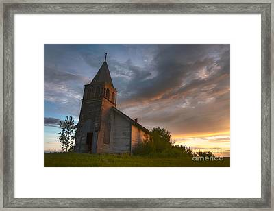 Brush Hills Church At Sunset Framed Print by Dan Jurak