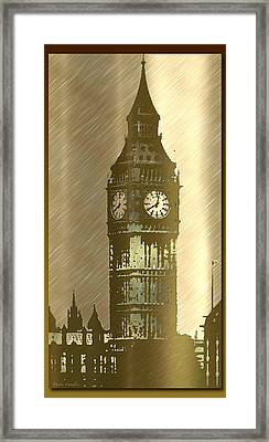 Brush Tone Big Ben Framed Print by Debra     Vatalaro