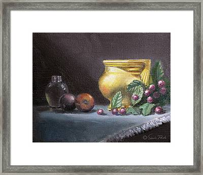 Brushed Gold Vase Framed Print by Sarah Parks
