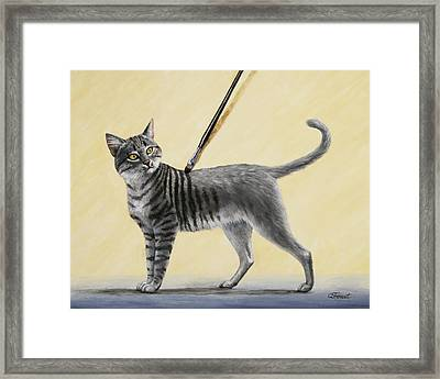 Brushing The Cat - No. 2 Framed Print by Crista Forest