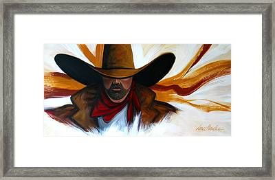 Framed Print featuring the painting Brushstroke Cowboy #4 by Lance Headlee