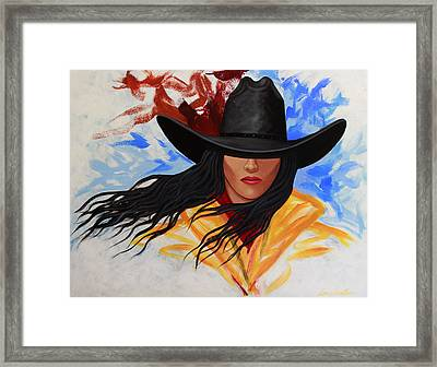 Framed Print featuring the painting Brushstroke Cowgirl #3 by Lance Headlee
