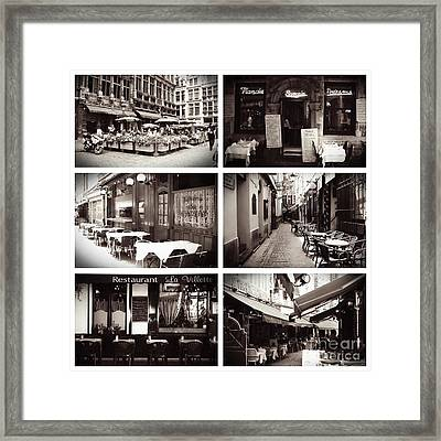 Brussels Cafes Collage Framed Print
