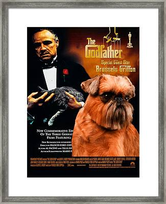 Brussels Griffon Art Canvas Print - The Godfather Movie Poster Framed Print by Sandra Sij