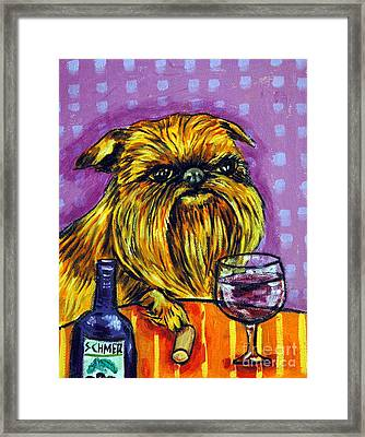 Brussels Griffon At The Wine Bar Framed Print by Jay  Schmetz