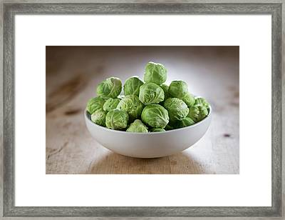 Brussels Sprouts In Bowl Framed Print by Aberration Films Ltd