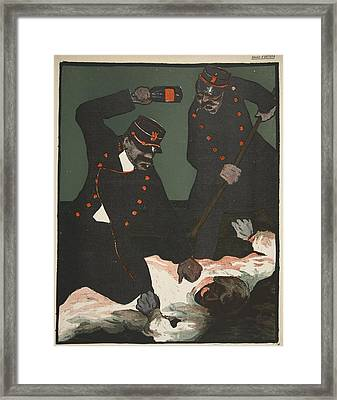 Brutality Of Policemen, Illustration Framed Print
