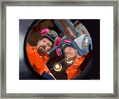 Bryan Cranston As Walter White And Aaron Paul As Jesse Pinkman @ Tv Serie Breaking Bad Framed Print