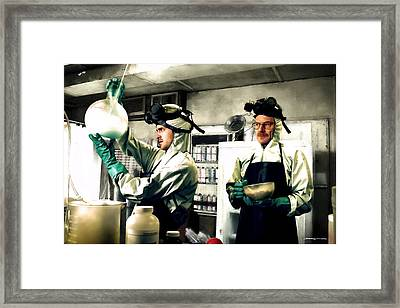 Bryan Cranston As Walter White And Aaron Paul As Jesse Pinkman Cooking Metha @ Tv Serie Breaking Bad Framed Print