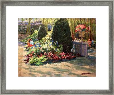 Bryant Park - Morning Light In The Garden Framed Print