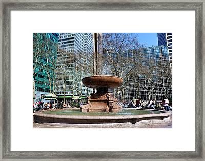 Bryant Park Fountain Framed Print by Tony Ambrosio