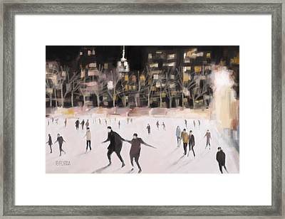 Bryant Park Ice Skaters New York At Night Framed Print by Beverly Brown