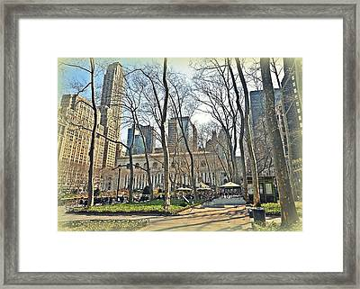 Bryant Park Library Gardens Framed Print by Tony Ambrosio