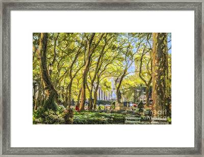 Bryant Park October Morning Framed Print
