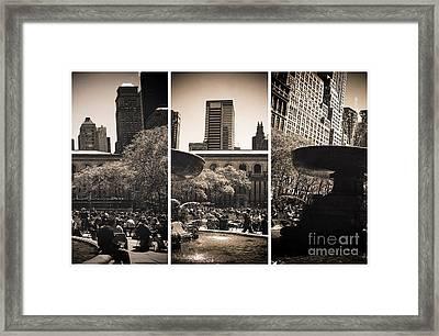 Bryant Park Panels Framed Print by John Rizzuto