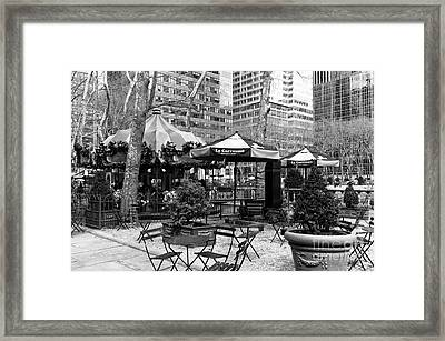 Bryant Park Tables Mono Framed Print by John Rizzuto