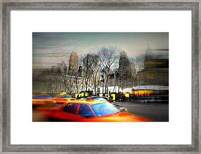 Bryant Park Taxi Framed Print by Diana Angstadt