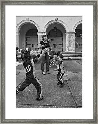 Bubble Battle Monochrome Framed Print by Steve Harrington