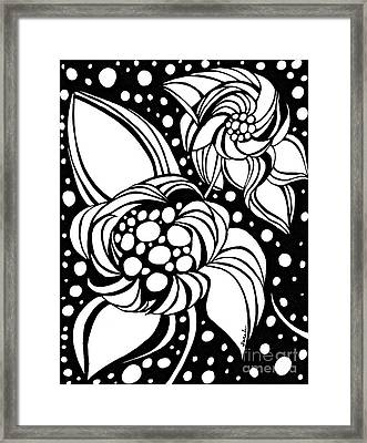 Bubble Flowers Framed Print by Sarah Loft