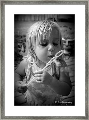 Framed Print featuring the photograph Bubble Fun by Laurie Perry