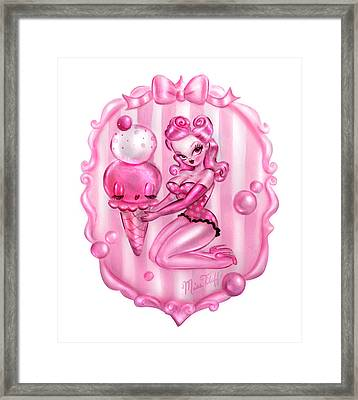 Bubble Gum Ice Cream Pin Up Framed Print