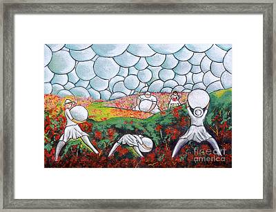 Bubble Sky And Flower Fields Framed Print