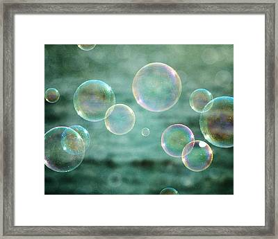 Bubbles In Teal And Pink Framed Print