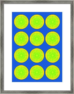 Bubbles Lime Blue Warhol  By Robert R Framed Print