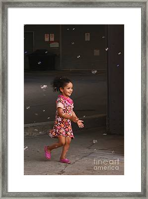 Bubbles Make The Happiest Moments Framed Print by Aimelle