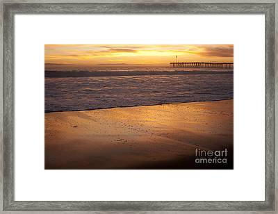 Bubbles On The Sand With Ventura Pier  Framed Print by Ian Donley