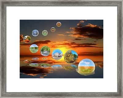 Bubbling Seasons. Framed Print