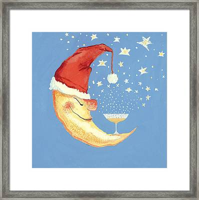 Bubbly Christmas Moon Framed Print by David Cooke