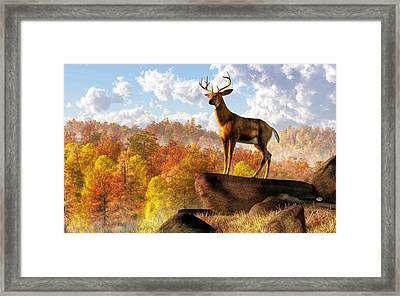 Buck Over Autumn Valley Framed Print