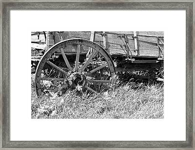 Buckboard Wagon Wheel  Framed Print by Juls Adams