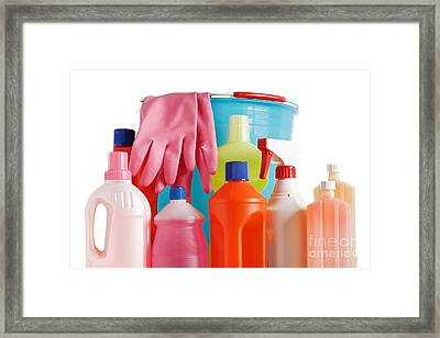 Bucket And Detergents Framed Print by Antonio Scarpi